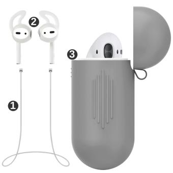 misodiko Pack of 3 Accessories for Apple AirPods Air Pods, SoftSilicone Protective Cover Pouch Case& Anti Lost Strap& EarCover Hooks - intl