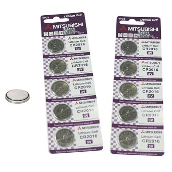 Mitsubishi CR2016 Lithium Cell Button Battery, 5 Pieces Pack of 2
