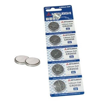 Mitsubishi CR2032 Lithium Cell Button Battery 5 Pieces