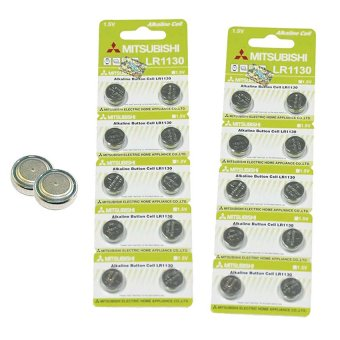 Mitsubishi LR1130 Alkaline Cell Button Battery, 10 Pieces Pack of 2