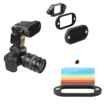 MN-BK 2 in 1 Universal Honeycomb Grid Set with 7 Color Gels forExternal Camera Flashes Speedlight Magnet Instant Attachment Price Philippines
