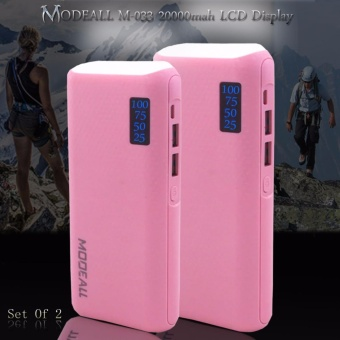 MODEALL M-033 20000mah LCD Display Dual Port PowerBank withFlashlight (Pink) Set Of 2