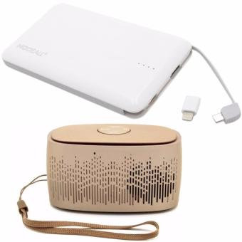 MODEALL M-04 20000mah Triple Port PowerBank (White) with C-88Portable Bluetooth Mini Music Box Speaker (Brown)