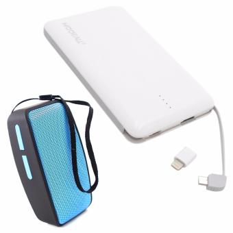 MODEALL M-04 20000mah Triple Port PowerBank (White) With Free N10 UMini Bluetooth Speaker with FM Function (Blue)