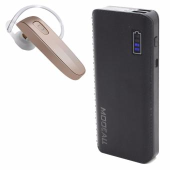 MODEALL M-05 20000mah Smart Power Bank (Black) With Free New GenaiSkywalker-B1 Extreme Bluetooth Headset (Gold)(press and Hold for7secs. to open)