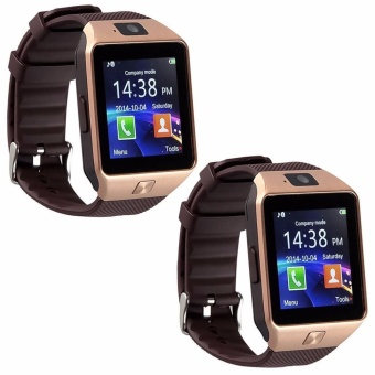Modoex M9 Phone Quad Smart Watch (Gold/Brown) Set of 2