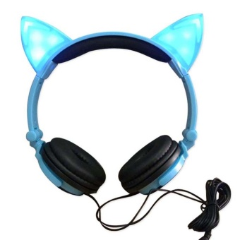 Moonar Foldable Flashing Glowing Cat Headphones Gaming Headset with LED Light For PC Laptop Mobile Phone - intl