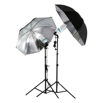 Moonar Grained Black Silver Camera Studio Flash Light Reflective Umbrella - intl