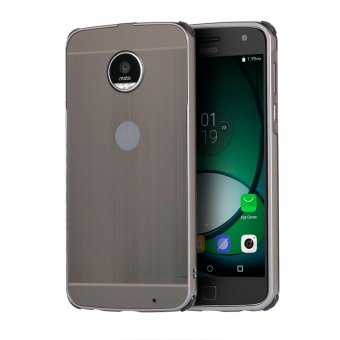 Mooncase Case For Motorola Moto Z Play Luxury Metal Aluminum BumperDetachable + Brushed PC Hard Back 2 in 1 Cover Ultra Thin FrameGrey - intl