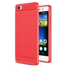 Moonmini Carbon Fiber Texture Brushed Soft Case for Huawei P8 Lite Red