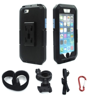 Motorcycle Handlebar Mount Holder for Apple iPhone 6 / 6s Plus 5.5 inch Bike Phone Holder Support Waterproof Case (Black For i6 6S PLUS) - intl