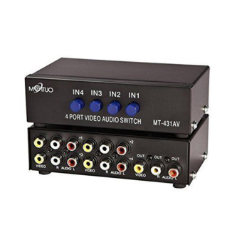 MT-431AV 4-Way AV Switch RCA Switcher 4 In 1 Out Composite Video L/R Audio Selector - intl