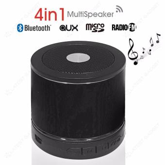 Multifunction 4 in 1 Bluetooth Speaker with SD Card Slot and FM Radio (Black)