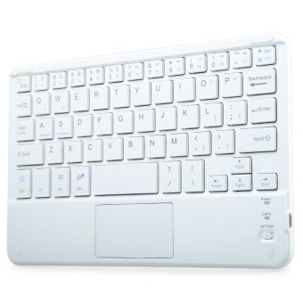 Multifunctional Ultra Thin Wireless Bluetooth 3.0 Keyboard withTouch Pad for PC Tablet Laptop (White)