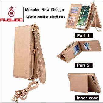 MUSUBO New Design Multi-function PU Leather Wallet 2in1 ZipperPortable Mobile Phone Bag Protective Cover for iphone 6 plus/6splus (gold)