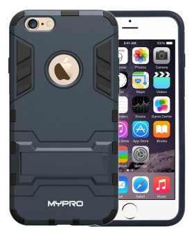 MYPRO Robot-Bear Dual Layer Protective Hybrid Armor Case with Kick-Stand for iPhone 6/6S (Black) - picture 2
