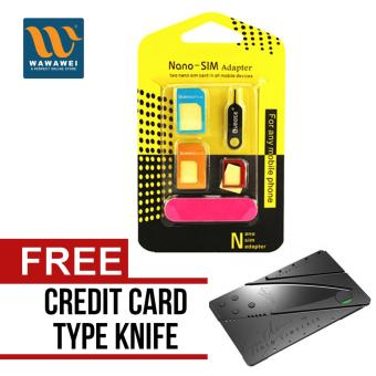 Nano SIM Adapter Nano to Micro SIM Micro SIM to Standard SIM CardAdapter 5 IN 1 Tools Kit with free Credit Card Type Foldibg SafetyKnife Price Philippines