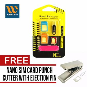 Nano SIM Adapter Nano to Micro SIM Micro SIM to Standard SIM CardAdapter 5 IN 1 Tools Kit with free Wawawei Standard Sim to MicroSim Card Punch Cutter with ejection pin & Micro to Sim Adapterfor iPhone