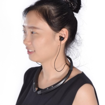 Neck Band Wireless Bluetooth 4.1 Headset Sports Earphone Anti-sweat Stereo Headphone (Black) - intl - 4