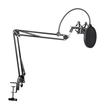 Neewer(R) NB-35 Microphone Suspension Boom Scissor Arm Stand with MicClip Holder and Table Mounting Clamp & NW(B-3) Pop FilterWindscreen Mask Shield & Metal Microphone Shock Mount Kit