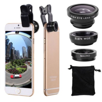 New 3 In 1 Fish Eye + Wide Angle + Macro Camera Clip-on Lens ForiPhone 6/ Plus/ 5S/ 5 Samsung Black