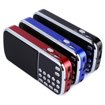 New Arrival Portable Digital Stereo FM Mini Radio Speaker MusicPlayer with TF Card USB AUX Input Sound Box Blue Black Red - intl