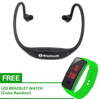 New Generation S9 Sports Wireless Bluetooth Stereo EarphoneHeadphones In-ear Headset Neckband for iPhone 7 Plus/iPhone6SPlus/SE/5S/ for Samsung Android Mobile Phones (Black) with Free LEDWatch