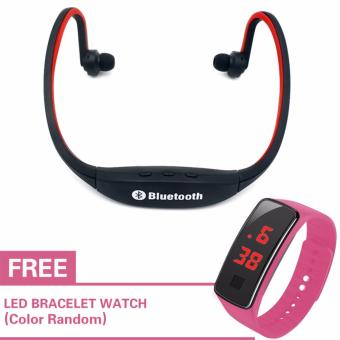 New Generation S9 Sports Wireless Bluetooth Stereo EarphoneHeadphones In-ear Headset Neckband for iPhone 7 Plus/iPhone6SPlus/SE/5S/ for Samsung Android Mobile Phones (Red) with Free LEDWatch