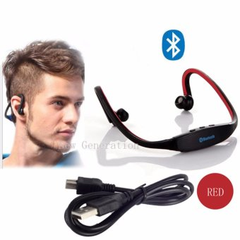 New Generation S9 Sports Wireless Bluetooth Stereo EarphoneHeadphones In-ear Headset Neckband for iPhone 7 Plus/iPhone6SPlus/SE/5S/ for Samsung Android Mobile Phones(Red)