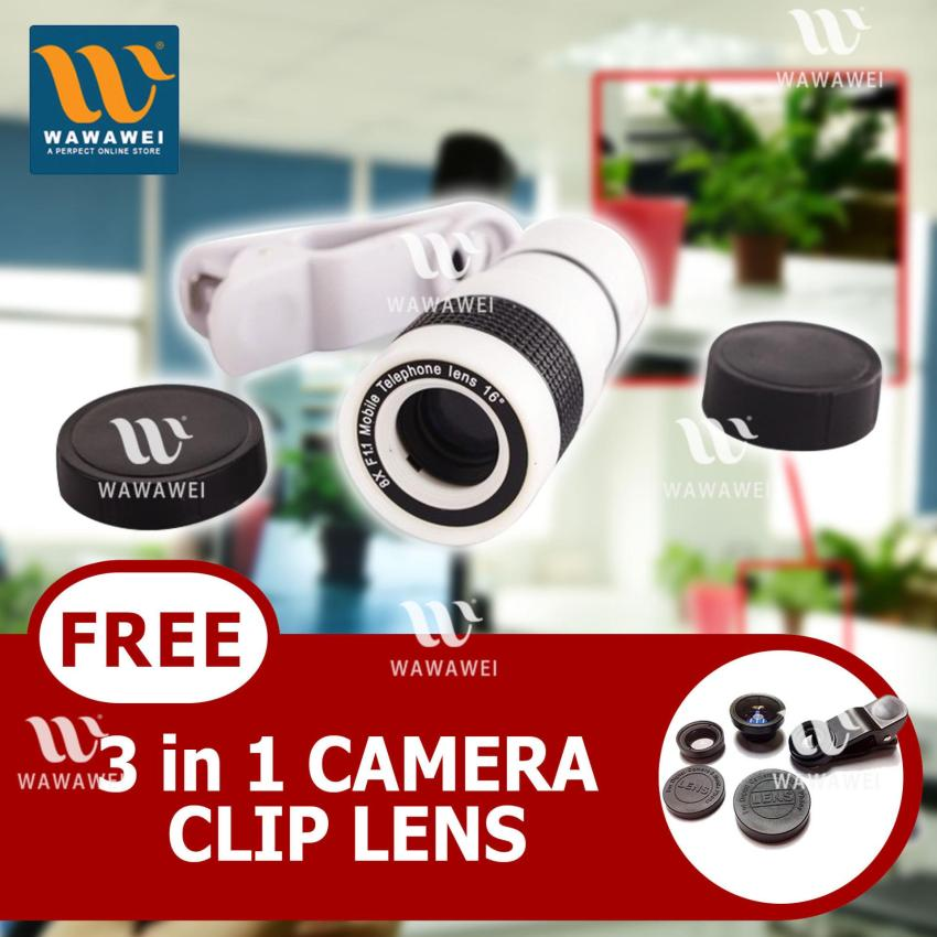 New Glamorous Universal 8X Optical Zoom Camera Lens For MobilePhone TelescopeX8 (white) with FREE Camera Clip Lens