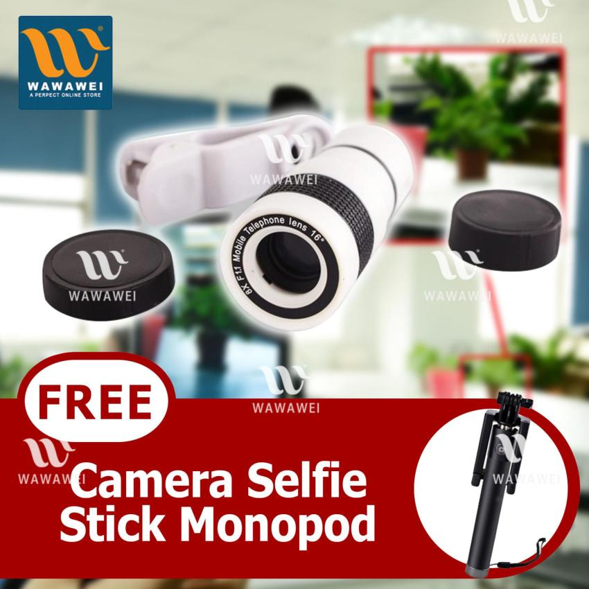 New Glamorous Universal 8X Optical Zoom Camera Lens For MobilePhone TelescopeX8 (white) with FREE Camera Selfie Stick