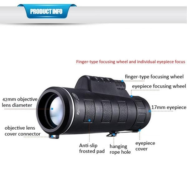 New Universal 35 x 50 HD Hiking Concert Camera Lens Zoom Monocular+ Clip for Smartphone Black - intl
