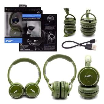 Nia Q1 108dB 4-in-1 Over-The-Ear Bluetooth Wireless Headset Headphones (Army Green)