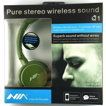 Nia Q1 Bluetooth Headsets with Micro SD and AUX Slot/FM Radio/CallFunction Headphones