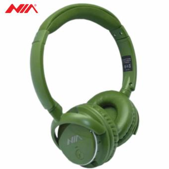 NIA Q1 Foldable Wireless Bluetooth Headphones Sport Music Headband Heavy Bass Stereo Headset with Microphone Support TF Card FM (Green)