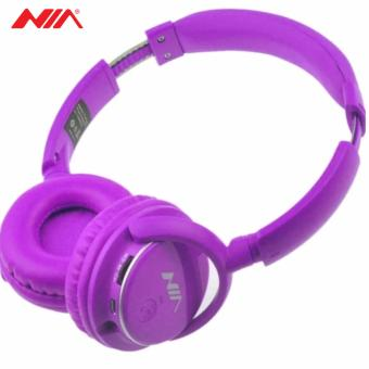 NIA Q1 Foldable Wireless Bluetooth Headphones Sport Music Headband Heavy Bass Stereo Headset with Microphone Support TF Card FM (Purple)