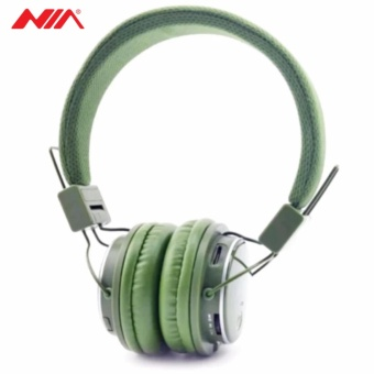 NIA Q8 851s Over-The-Ear Bluetooth Headphones with Call function, FM Radio, AUX/Micro SD Slot (Army Green)