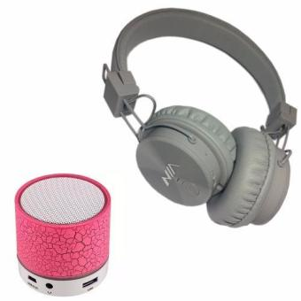 NIA-X3 108dB 4 in 1 Collapsible Wireless Bluetooth Over the EarHeadphone (Gray) with S-10 Mini LED Bluetooth Speaker (Pink)