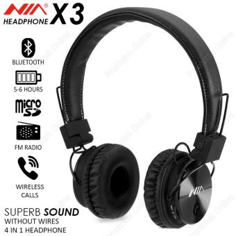 NIA X3 4 in 1 Wireless Bluetooth Stereo Headset (Black)