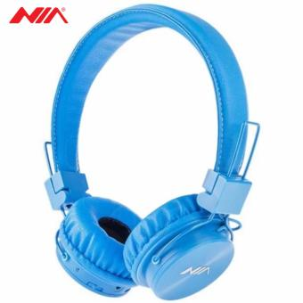 NIA X3 Superb Sound Foldable 108dB 4-in-1 Wireless BluetoothHeadset with FM Radio and TF/AUX Slot (Blue)
