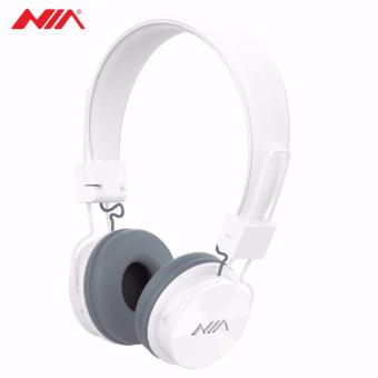 NIA X3 Superb Sound Foldable 108dB 4-in-1 Wireless BluetoothHeadset with FM Radio and TF/AUX Slot (White)