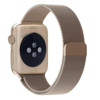 niceEshop 42mm Milanese Magnetic Loop Stainless Watch Band Strap Leather Loop For Apple Watch (Retro Gold) - intl