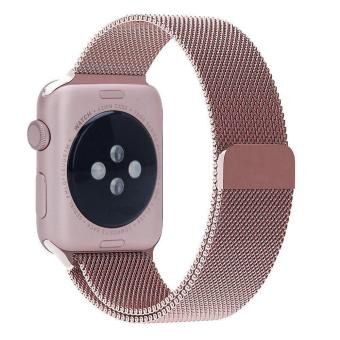 niceEshop 42mm Milanese Magnetic Loop Stainless Watch Band StrapLeather Loop For Apple Watch (Rose Gold) - intl