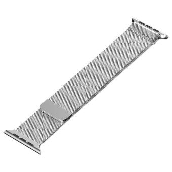 ... niceEshop 42mm Milanese Magnetic Loop Stainless Watch Band StrapLeather Loop For Apple Watch (Silver) ...