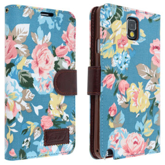 niceEshop Blue Flower Floral Style Wallet Flip Magnet Stand Leather Case Cover for Samsung Galaxy Note 3 N9000 (Blue)