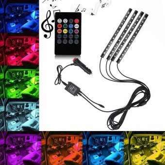 niceEshop Car LED Strip Light, OXOQO 4pcs 48 LED Car Interior Light8 Colors Music Underdash Lighting Kit With Sound Active FunctionWireless Remote Control - intl