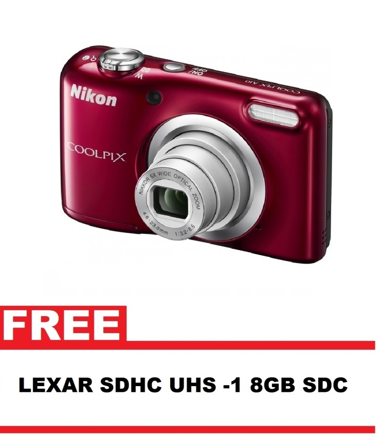 Nikon Coolpix A10 16.1MP 5x Optical Zoom (Red) with FREE 8GB SDCard