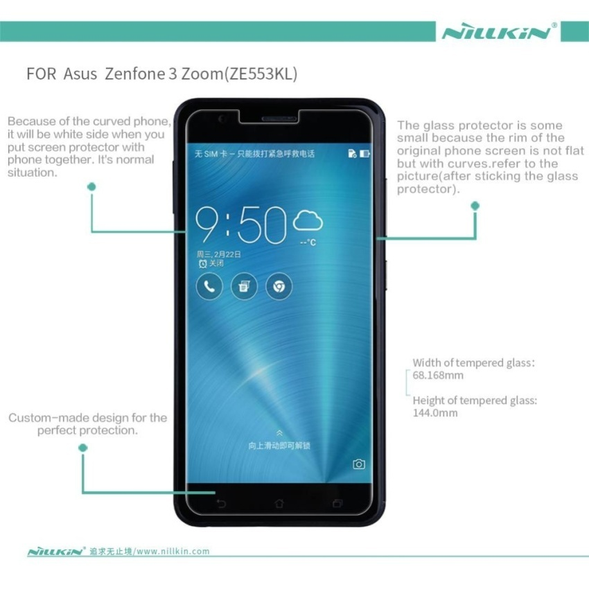 Nillkin 0.33mm Anti-Burst Tempered Glass Protective Film ScreenProtector (Straight Edge) For Asus Zenfone 3 Zoom ZE553KL (Clear)  - intl - 2