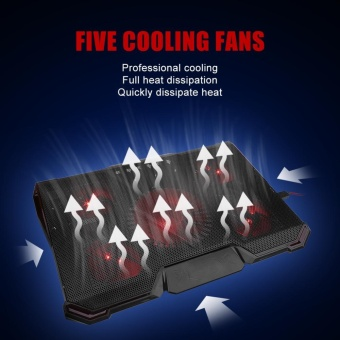 Notebook Cooler 5 LED Fans Adjustable Cooling Pad Holder for 12-17inch Laptop - intl