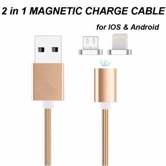Nylon 2 in 1 Magnetic Cable 1M For Lightning Adapter Sync Wire DataCable Fast Charging Both For Android ios - 3